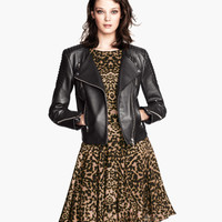 H&M - Leather Biker Jacket - Black - Ladies