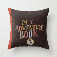 my adventure book.. up, carl and ellie Throw Pillow by studiomarshallarts