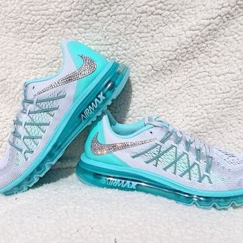 Tagre™ Crystal Nike Air Max 2015 Bling Shoes with Swarovski Elements Women's Running Shoes Hyper Turquoise