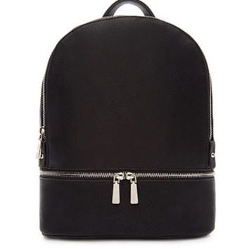 Double Zipper Faux Leather Backpack
