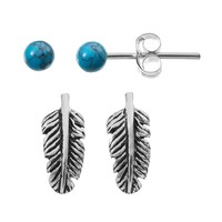 Simulated Turquoise Sterling Silver Feather & Ball Stud Earring Set (Blue)