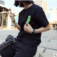 With Pocket Print Cotton Casual Trendy Shirt Ladies T-shirts [6412044548]