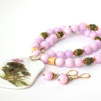Asian Pendant, Pink Necklace, Gemstone Necklace, Handmade Necklace, Jewelry Set, Handcrafted Jewelry, Unique Necklace, Pink Jewelry