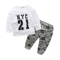 Newborn Baby Girls Clothing Long Sleeve Letter Printed T Shirt +Pant Baby Boys Clothes Set 2018 New Spring Autumn Infantil Cloth