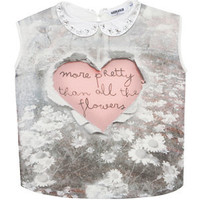 Teens Grey Floral Embellished Collar Heart T-Shirt