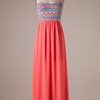A Life is Sweet Maxi Dress- Coral