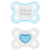 MAM BPA Free 0-6 Months 2 Pack Love and Affection Pacifier - BLue I Love Daddy