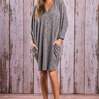 Cool As The Weather Sweater Dress, Gray
