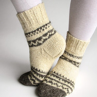 Hand Knitted Wool Socks - 100 % Natural Organic Eco Clothing - Autumn Winter Comfort