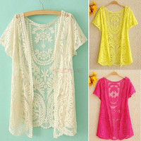 Women's Hollow-Out Shirt Lace Embroidery Floral Crochet Short Sleeve Cardigan One size SV001747 Knitwear