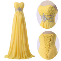Homecoming Chiffon Bridesmaid Gown Evening Cocktail Prom Party Long Dress 2~16