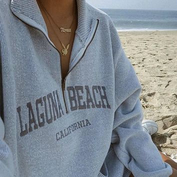 Women's Pullover Sweater letter embroidery zipper Pullover loose coat