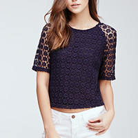 Boxy Floral-Crocheted Top