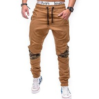 Mens Joggers 2018 Brand Male Trousers Men Pants Casual Camo Stitching Pants Hip-Hop Sweatpants Jogger Khaki Large Size 4XL