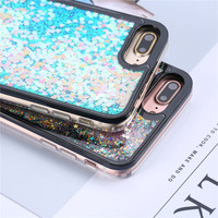 Fashion Glitter Colorful Dynamic Love Heart Star Quicksand Phone Cases For iphone 7 6 6S Plus Case Cute Bling Hard PC Cover Capa