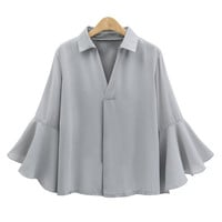2017 Office Ladies Flare Ruffle Long Sleeve Chiffon Blouse NEW Women V-neck Turn Down Collar Casual Butterfly Sleeve Tops Shirts