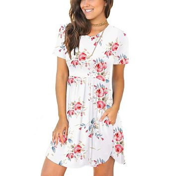 Women's Summer Short Sleeve Casual Dresses Elastic Loose Comfy Swing Sundress With Pockets