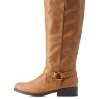 Tan Harnessed Knee-High Riding Boots by Charlotte Russe
