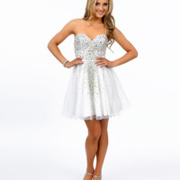 Ivory Rhinestone Beaded Strapless Tulle Short Dress 2015 Prom Dresses