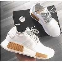 Adidas NMD R1 3M Reflective shoelace Fashion Trending Running Sports Shoes White-Golden B-CSXY-1