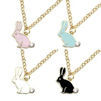 Lovely Bunny Rabbit Necklaces & Pendants Rhinestone Enamel Animal Gold Chain Choker Necklace Women Jewelry Dropshipping Collares