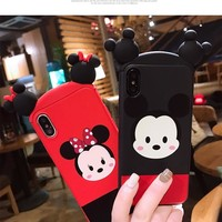 For iPhone X 3D case Hello Kitty Cute case for iphone 6 6S plus 7 7plus 8 8plus cartoon  Minnie Bear Hair hoop phone case