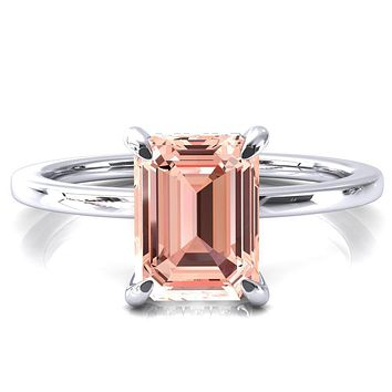 Rosy Emerald Champagne Sapphire 4 Claw Prong Single Rail Micropave Engagement Ring