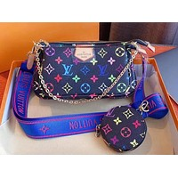 Louis Vuitton New Fashion Colorful Collection Shoulder Bag Coin Purse Small Bag Three-piece Set