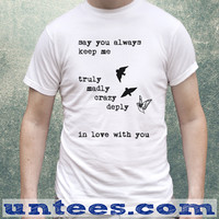 One Direction Song, Truly Madly Deeply Crazy Love Birds Tshirt Unisex/Mens
