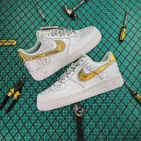 Nike Air Force 1 AF1 White Gold Low Shoes