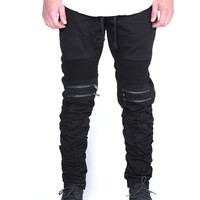 The Tiller Stacked Moto Pants in Black