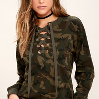 Army of One Green Camo Print Lace-Up Sweater