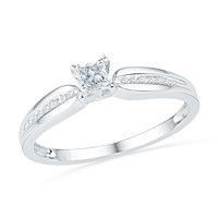 10kt White Gold Womens Princess Natural Diamond Solitaire Promise Bridal Ring 1/6 Cttw