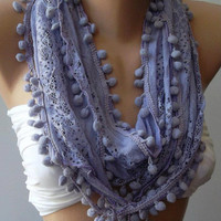 Lilac Lace and Elegance Shawl / Scarf - with Pompom