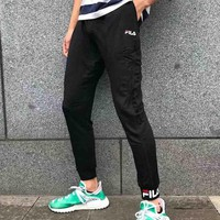 Copy of FILA Fashion new letter print women and men sports pants Black