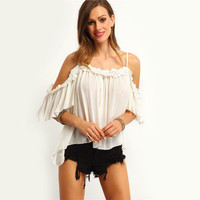 SIMPLE - Chiffon Sexy Off Shoulder Lace Top a12528