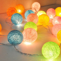 Sweet colour cotton ball string lights for Patio,Wedding,Party and Decoration (20 bulbs)