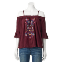 Juniors' Live To Be Spoiled Floral Off The Shoulder Top