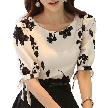 Floral Black and White Embroidered Chiffon half Sleeve Blouses