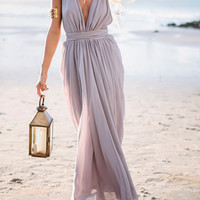 Light Purple Deep V Neck Maxi Dress - Sheinside.com