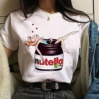 Harajuku Nutella Kawaii Print T Shirt Women 90s Ullzang Fashion T-shirt Graphic Cute Cartoon Tshirt Korean Style Top Tees Female