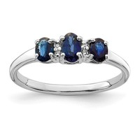 Sterling Silver 3 Stone Oval Genuine Blue Sapphire & Diamond Ring