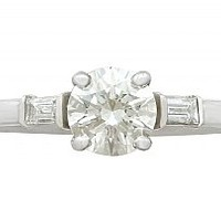 1.03 ct Diamond and Platinum Solitaire Ring - Art Deco Style - Contemporary Circa 2000