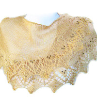 Knit lace shawl. Pale brown knit and 4mm Czech beaded shawl.  Gift her, wedding, valentines gift.