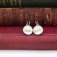 Sherlock earrings, Sherlock Holmes gift, library card catalog jewelry, bookworm gift, Sherlock fan gift, BBC Sherlock, gift under 15
