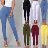 Womens Casual High Waist Stretch Jeans