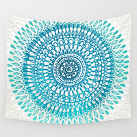 Radiate in Teal + Emerald Wall Tapestry by Tangerine-Tane
