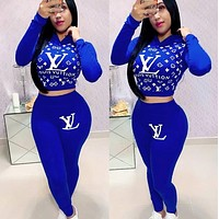 Louis Vuitton LV Fashion Women Hoodie Long Sleeve High Waist Top Pants