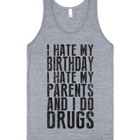 I Hate My Birthday (Tank)-Unisex Athletic Grey Tank