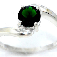 1 Carat Emerald Round Ring .925 Sterling Silver Rhodium Finish White Gold Quality